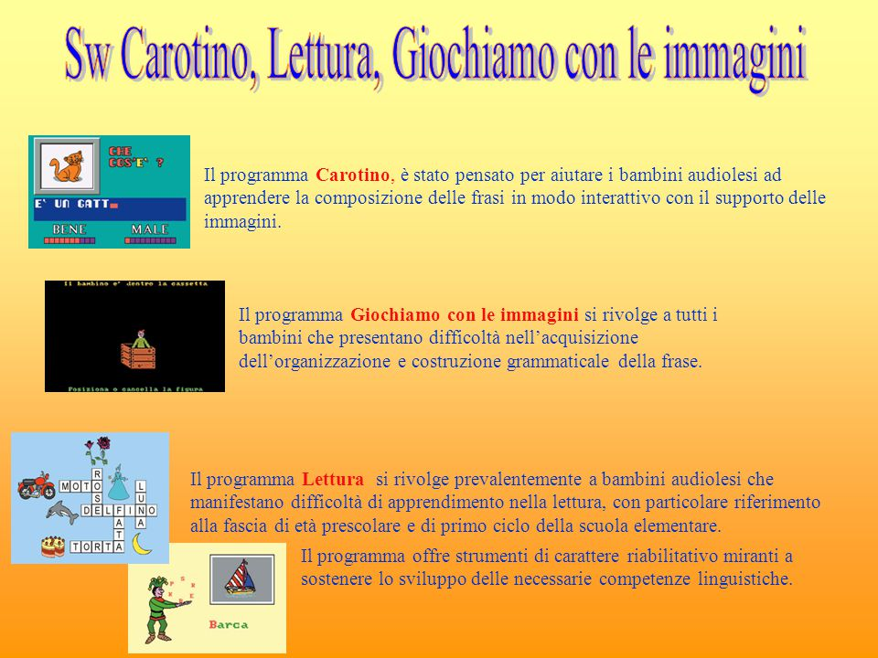 Sw Carotino, Lettura, Giochiamo con le immagini