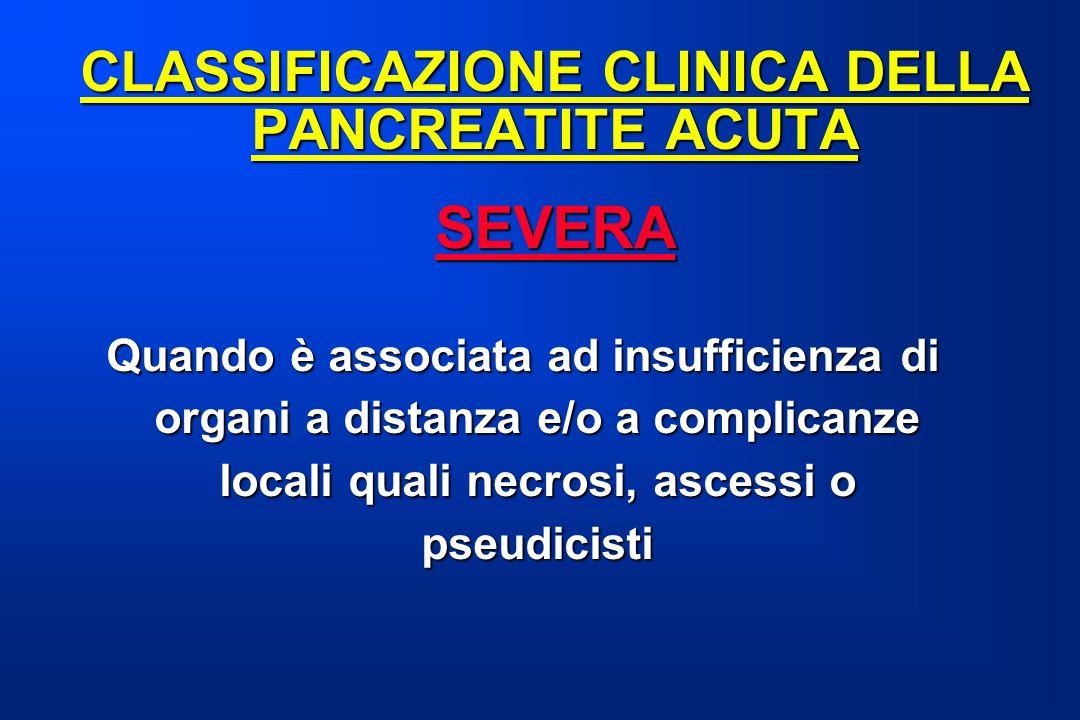 CLASSIFICAZIONE CLINICA DELLA PANCREATITE ACUTA