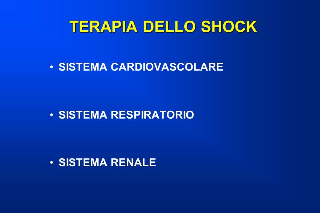 TERAPIA DELLO SHOCK SISTEMA CARDIOVASCOLARE SISTEMA RESPIRATORIO
