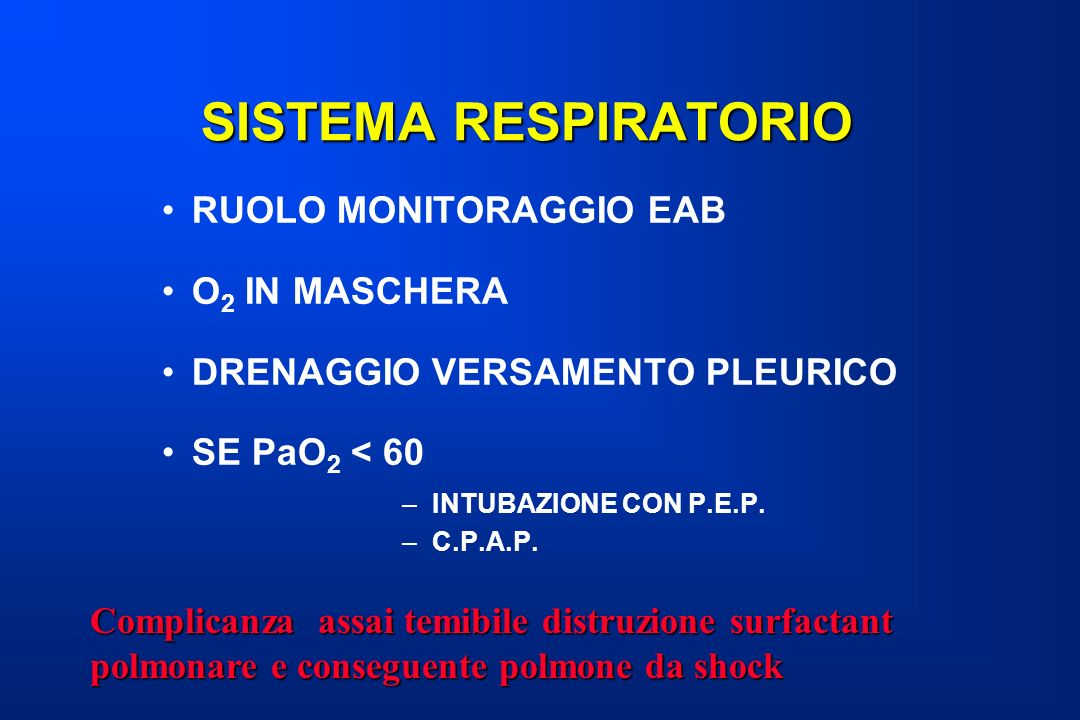 SISTEMA RESPIRATORIO RUOLO MONITORAGGIO EAB O2 IN MASCHERA