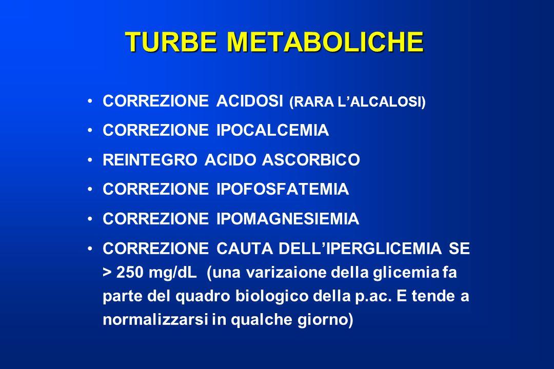 TURBE METABOLICHE CORREZIONE ACIDOSI (RARA L'ALCALOSI)