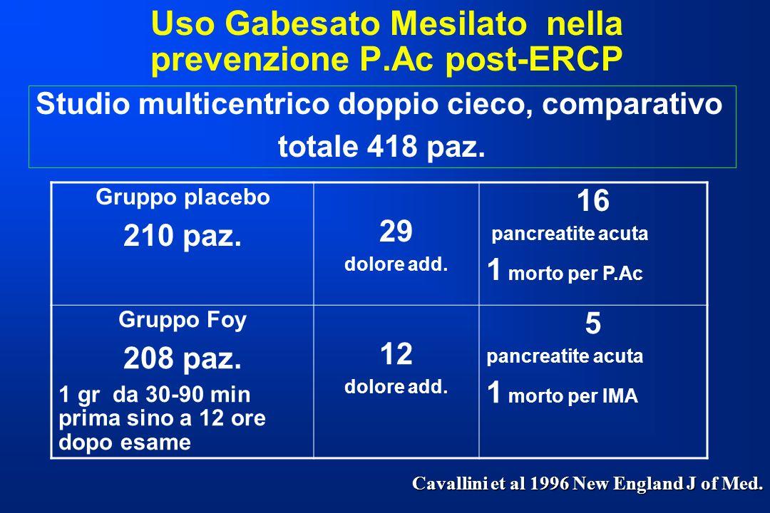 Uso Gabesato Mesilato nella prevenzione P.Ac post-ERCP