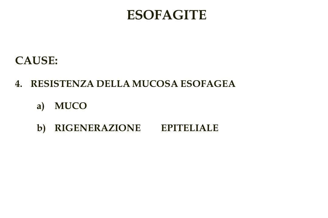 ESOFAGITE CAUSE: RESISTENZA DELLA MUCOSA ESOFAGEA MUCO