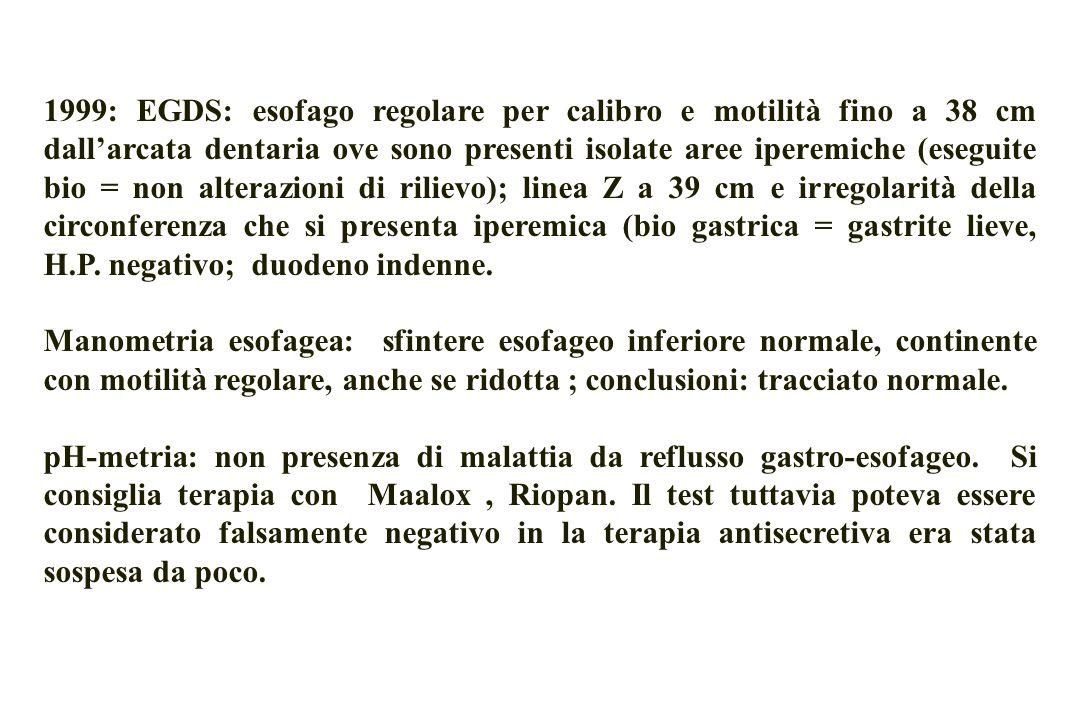 1999: EGDS: esofago regolare per calibro e motilità fino a 38 cm dall'arcata dentaria ove sono presenti isolate aree iperemiche (eseguite bio = non alterazioni di rilievo); linea Z a 39 cm e irregolarità della circonferenza che si presenta iperemica (bio gastrica = gastrite lieve, H.P. negativo; duodeno indenne.