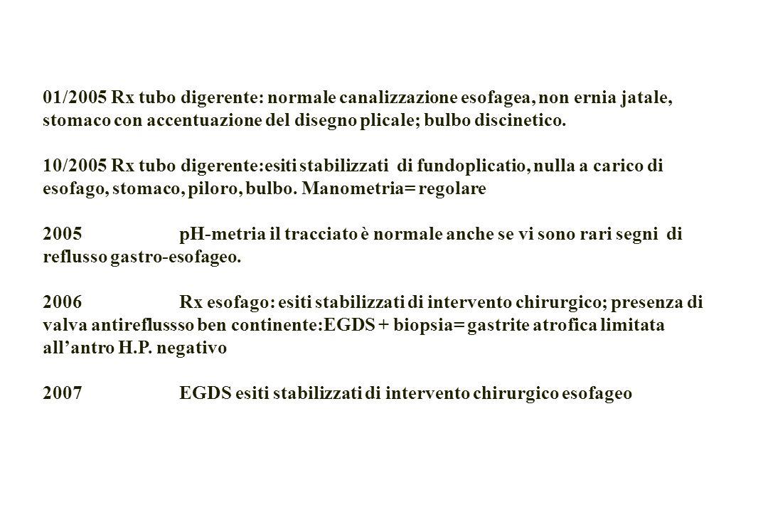 01/2005 Rx tubo digerente: normale canalizzazione esofagea, non ernia jatale, stomaco con accentuazione del disegno plicale; bulbo discinetico.