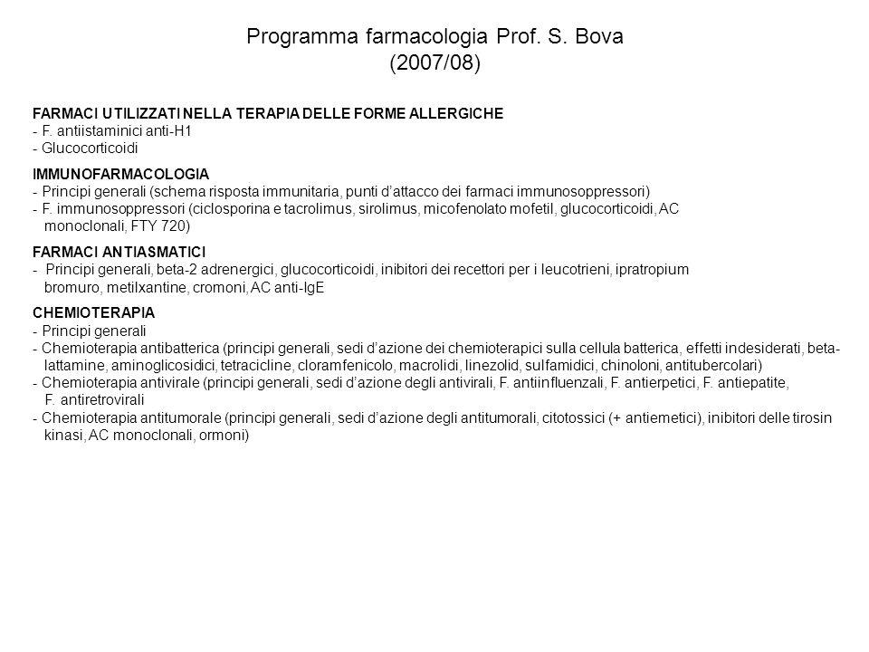 Programma farmacologia Prof. S. Bova (2007/08)