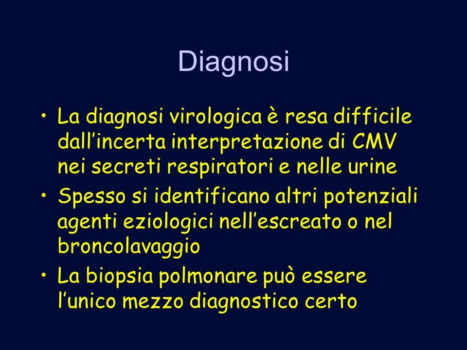 Diagnosi La diagnosi virologica è resa difficile dall'incerta interpretazione di CMV nei secreti respiratori e nelle urine.