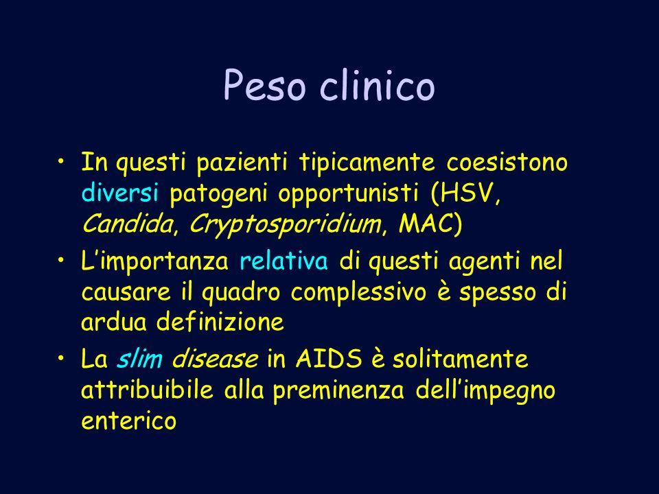 Peso clinico In questi pazienti tipicamente coesistono diversi patogeni opportunisti (HSV, Candida, Cryptosporidium, MAC)
