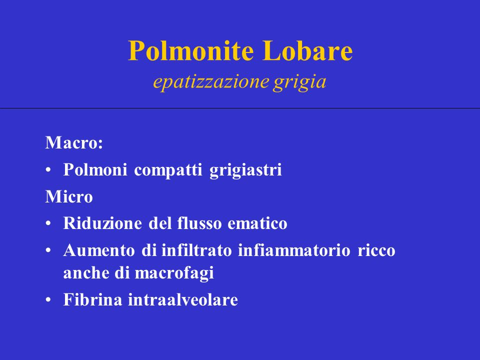 Polmonite Lobare epatizzazione grigia