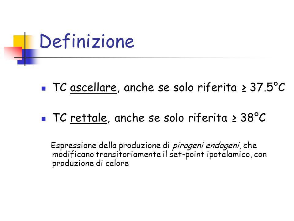Definizione TC ascellare, anche se solo riferita ≥ 37.5°C