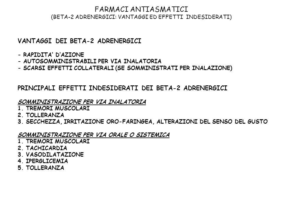 FARMACI ANTIASMATICI (BETA-2 ADRENERGICI: VANTAGGI ED EFFETTI INDESIDERATI)