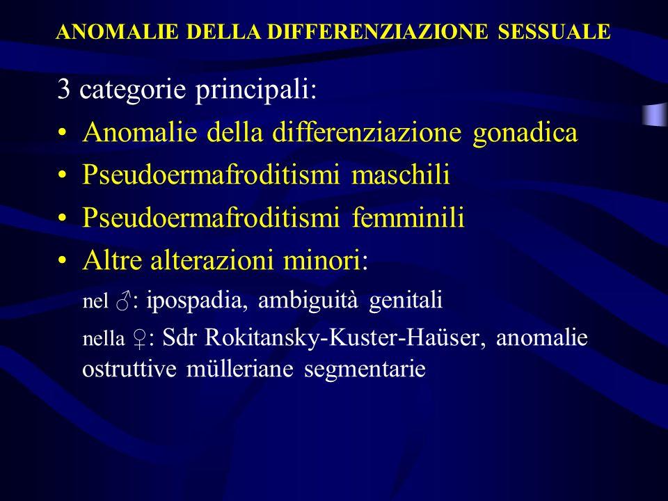 3 categorie principali: Anomalie della differenziazione gonadica