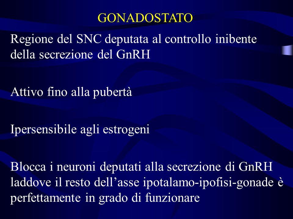 GONADOSTATO Regione del SNC deputata al controllo inibente della secrezione del GnRH. Attivo fino alla pubertà.
