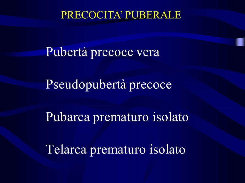 PRECOCITA' PUBERALE Pubertà precoce vera Pseudopubertà precoce Pubarca prematuro isolato Telarca prematuro isolato.