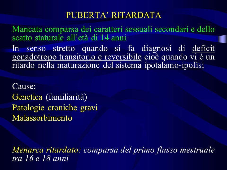 PUBERTA' RITARDATA Mancata comparsa dei caratteri sessuali secondari e dello scatto staturale all'età di 14 anni.