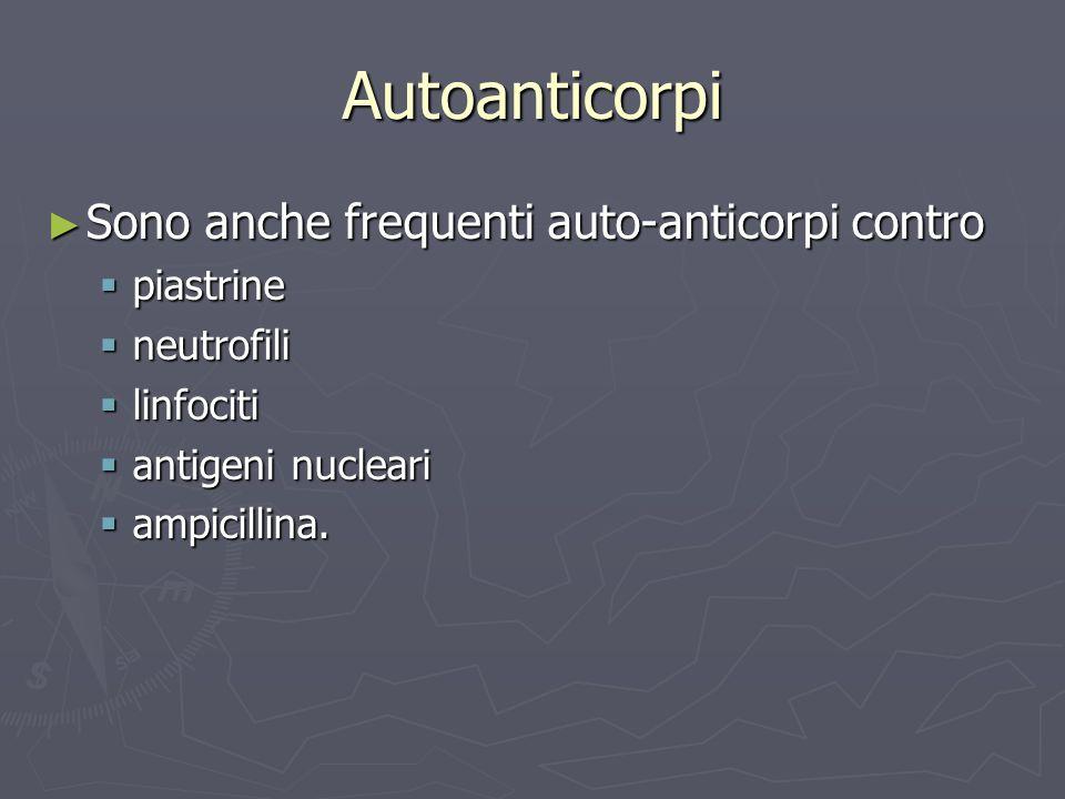 Autoanticorpi Sono anche frequenti auto-anticorpi contro piastrine