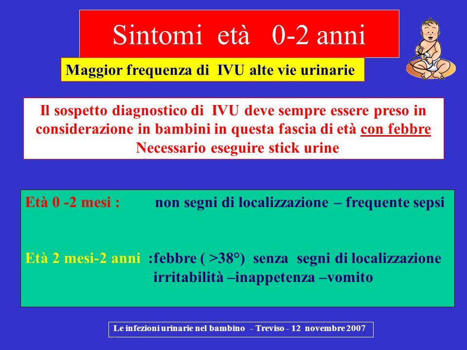Sintomi età 0-2 anni Maggior frequenza di IVU alte vie urinarie