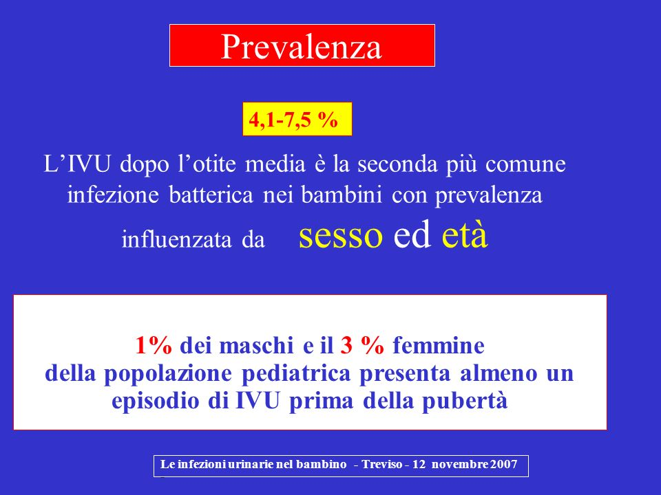 Prevalenza 4,1-7,5 % L'IVU dopo l'otite media è la seconda più comune infezione batterica nei bambini con prevalenza influenzata da sesso ed età.