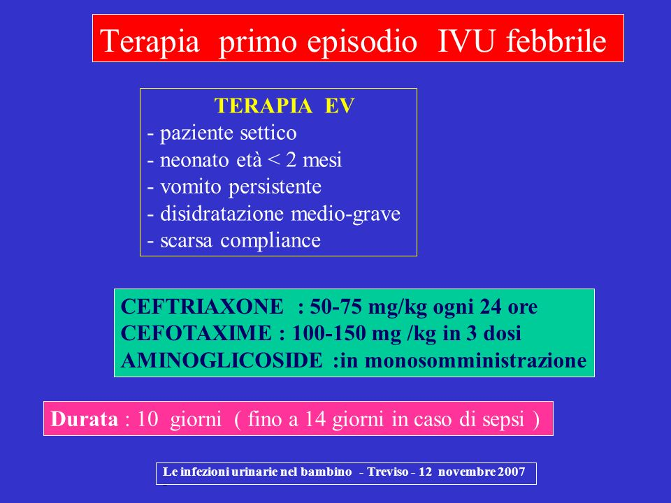Terapia primo episodio IVU febbrile