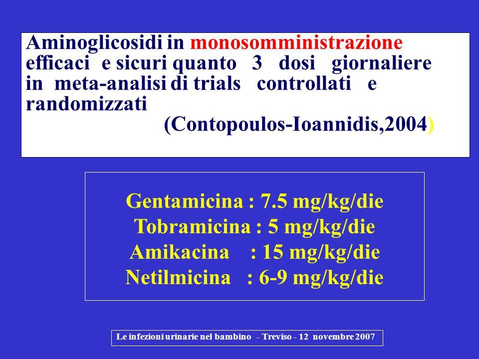 Gentamicina : 7.5 mg/kg/die Tobramicina : 5 mg/kg/die