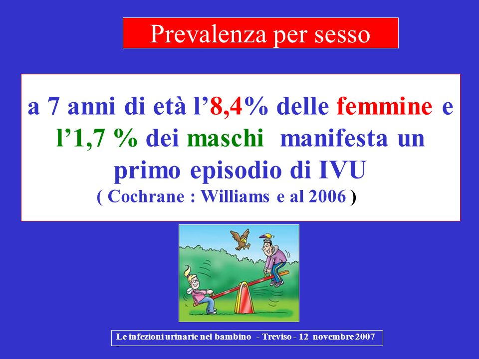 Prevalenza per sesso a 7 anni di età l'8,4% delle femmine e l'1,7 % dei maschi manifesta un primo episodio di IVU ( Cochrane : Williams e al 2006 )