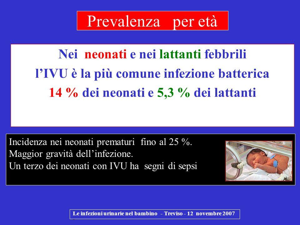 Prevalenza per età Nei neonati e nei lattanti febbrili