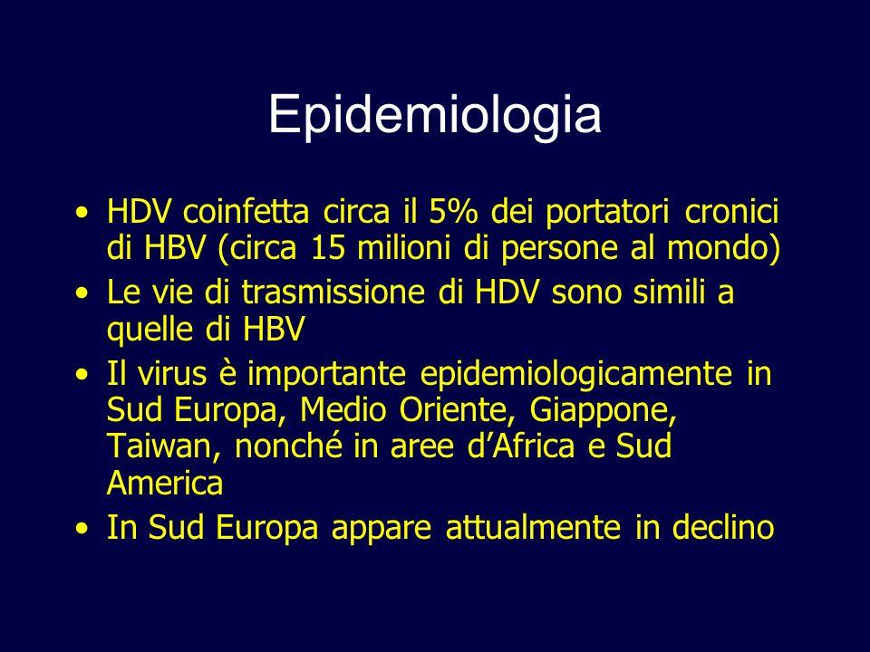 EpidemiologiaHDV coinfetta circa il 5% dei portatori cronici di HBV (circa 15 milioni di persone al mondo)