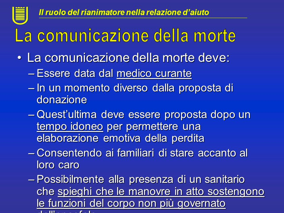 La comunicazione della morte