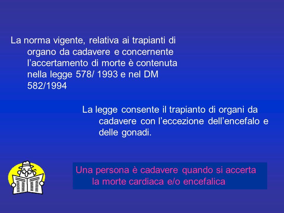 La norma vigente, relativa ai trapianti di organo da cadavere e concernente l'accertamento di morte è contenuta nella legge 578/ 1993 e nel DM 582/1994