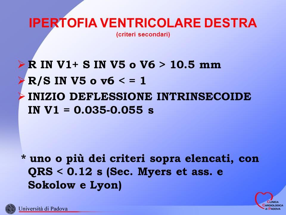IPERTOFIA VENTRICOLARE DESTRA (criteri secondari)