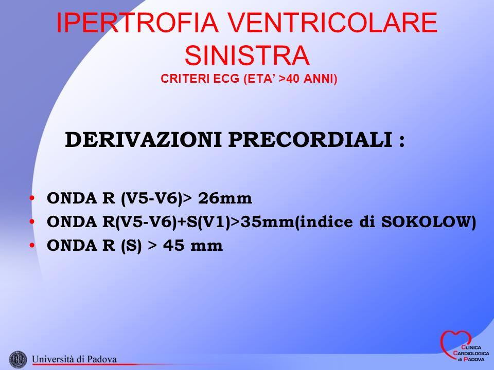 IPERTROFIA VENTRICOLARE SINISTRA CRITERI ECG (ETA' >40 ANNI)