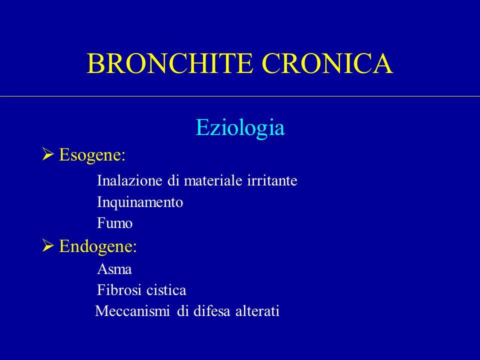 BRONCHITE CRONICA Eziologia Esogene: Inalazione di materiale irritante