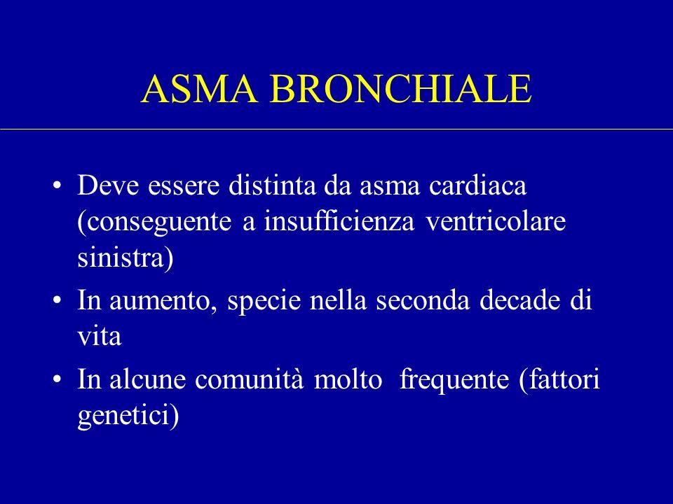 ASMA BRONCHIALE Deve essere distinta da asma cardiaca (conseguente a insufficienza ventricolare sinistra)