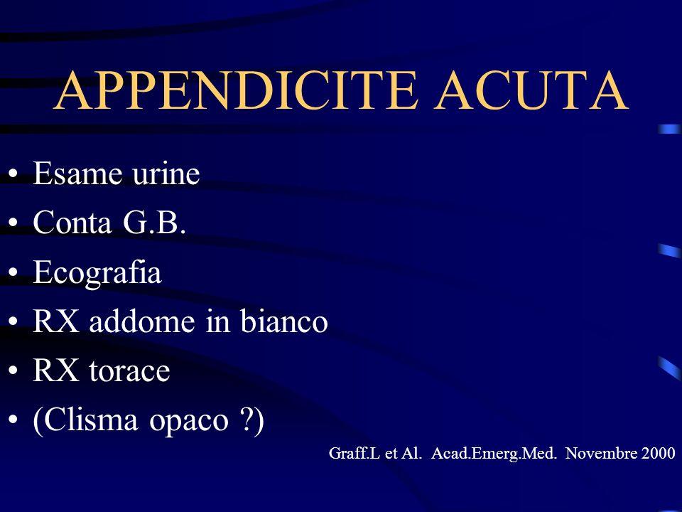 APPENDICITE ACUTA Esame urine Conta G.B. Ecografia RX addome in bianco