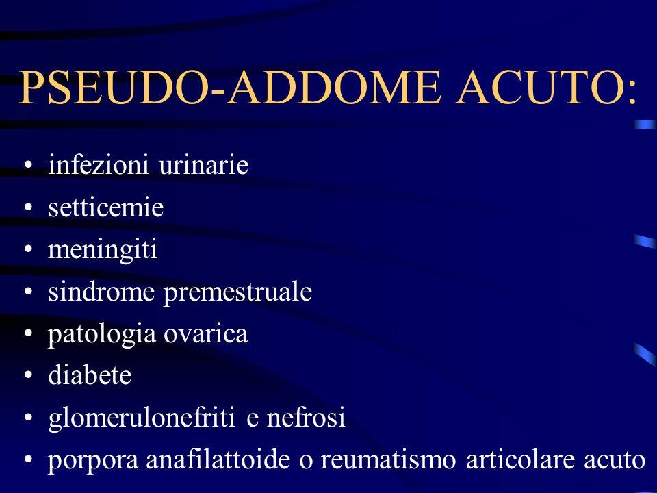 PSEUDO-ADDOME ACUTO: infezioni urinarie setticemie meningiti