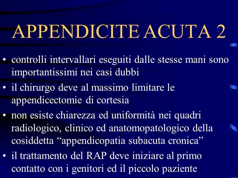 APPENDICITE ACUTA 2 controlli intervallari eseguiti dalle stesse mani sono importantissimi nei casi dubbi.