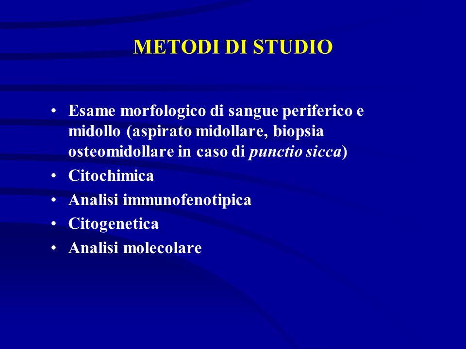 METODI DI STUDIO Esame morfologico di sangue periferico e midollo (aspirato midollare, biopsia osteomidollare in caso di punctio sicca)