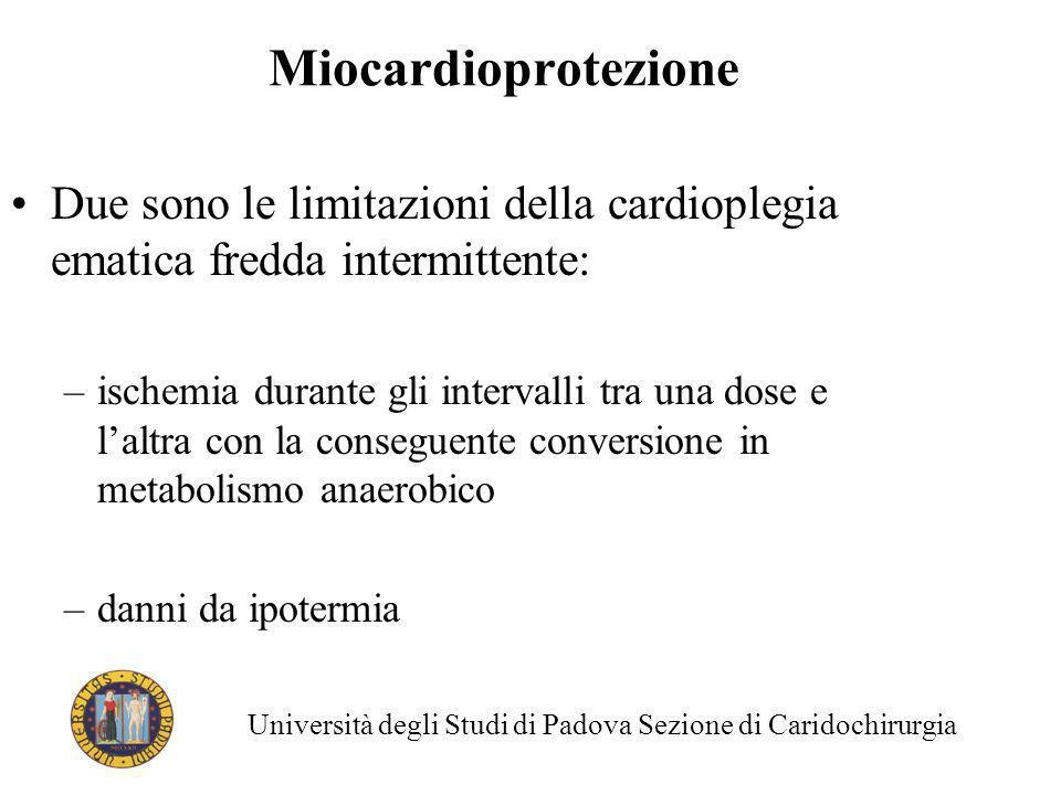 Miocardioprotezione Due sono le limitazioni della cardioplegia ematica fredda intermittente:
