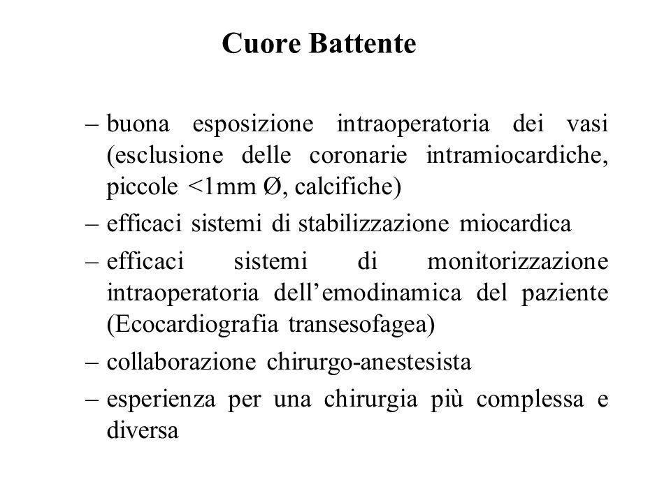 Cuore Battentebuona esposizione intraoperatoria dei vasi (esclusione delle coronarie intramiocardiche, piccole <1mm Ø, calcifiche)