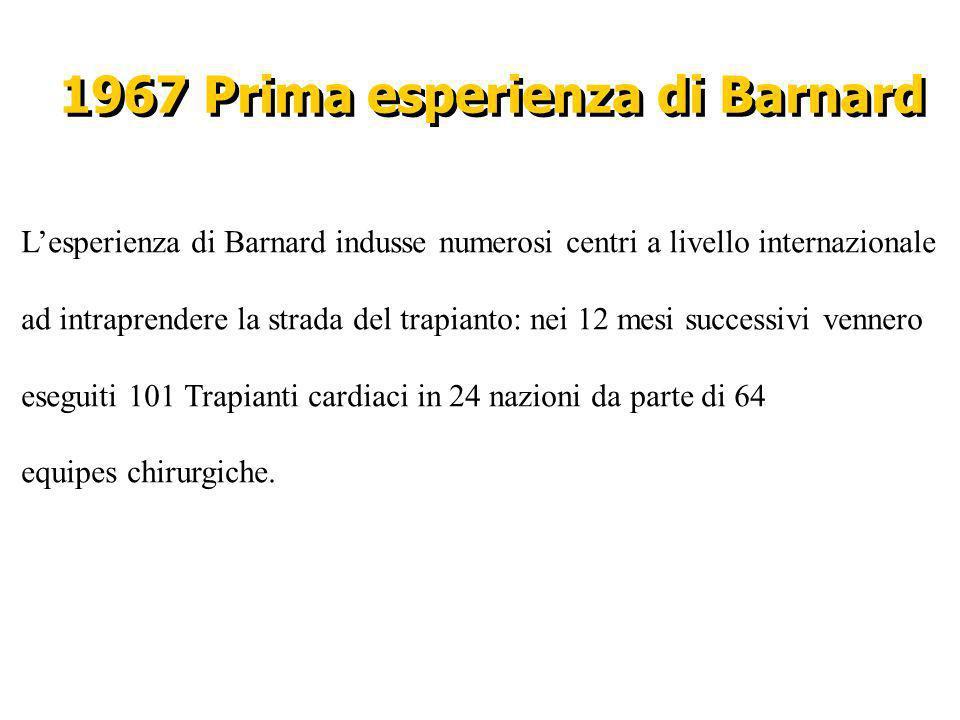 1967 Prima esperienza di Barnard