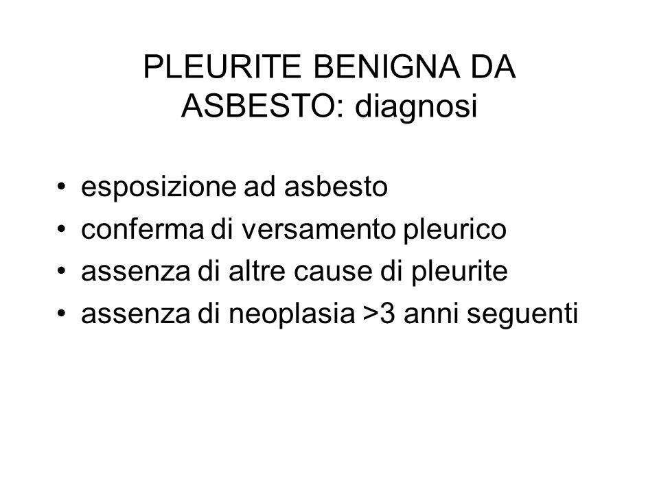 PLEURITE BENIGNA DA ASBESTO: diagnosi
