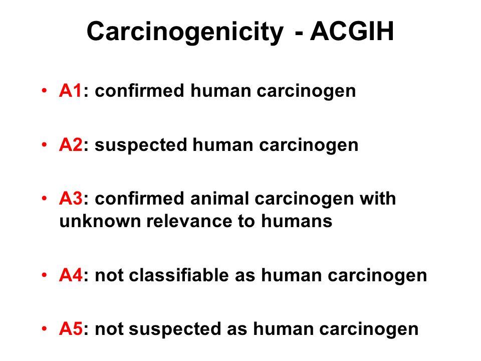 Carcinogenicity - ACGIH