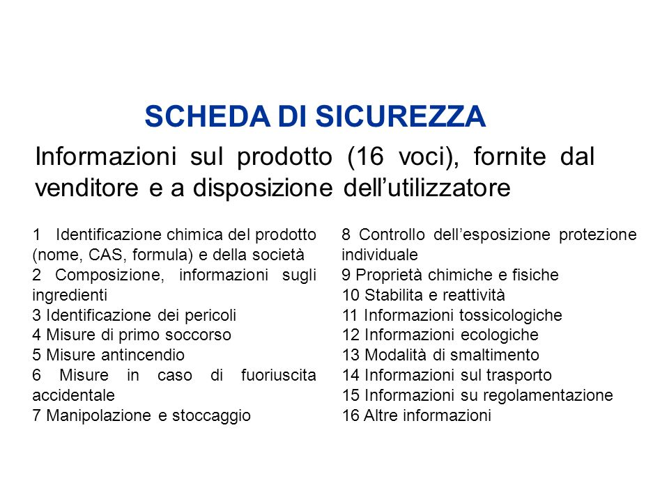 SCHEDA DI SICUREZZA Informazioni sul prodotto (16 voci), fornite dal venditore e a disposizione dell'utilizzatore.