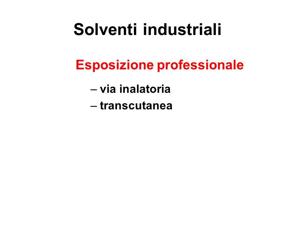 Solventi industriali Esposizione professionale via inalatoria