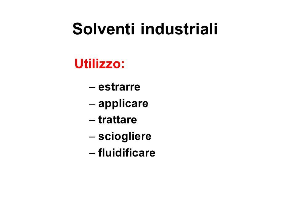 Solventi industriali Utilizzo: estrarre applicare trattare sciogliere