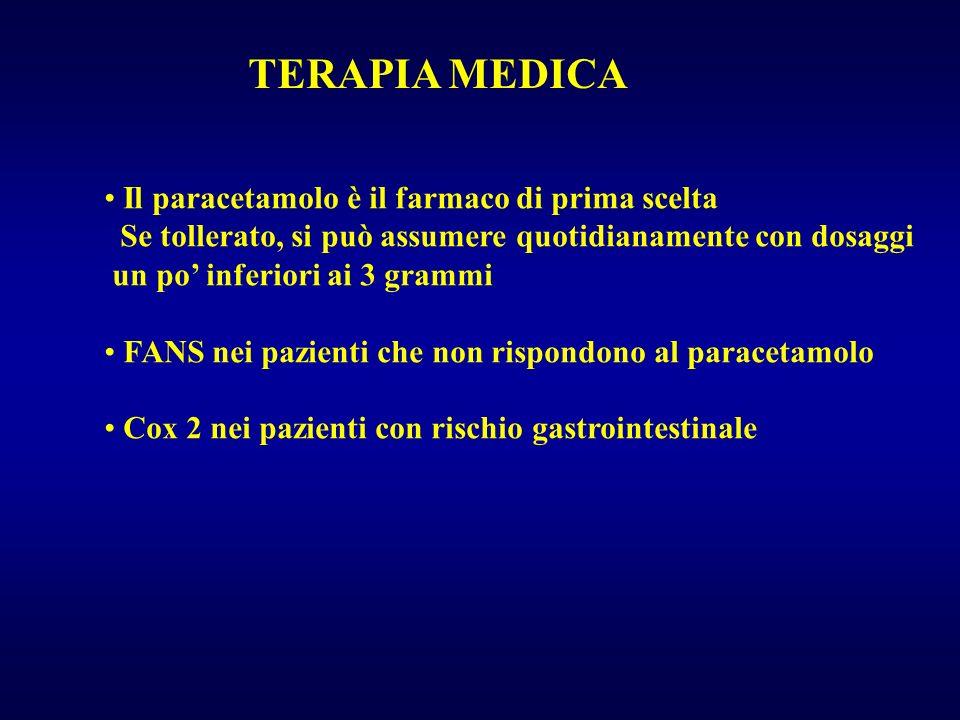 TERAPIA MEDICA Il paracetamolo è il farmaco di prima scelta