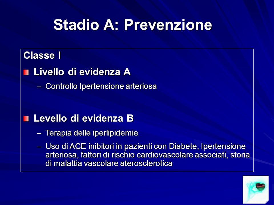 Stadio A: Prevenzione Classe I Livello di evidenza A