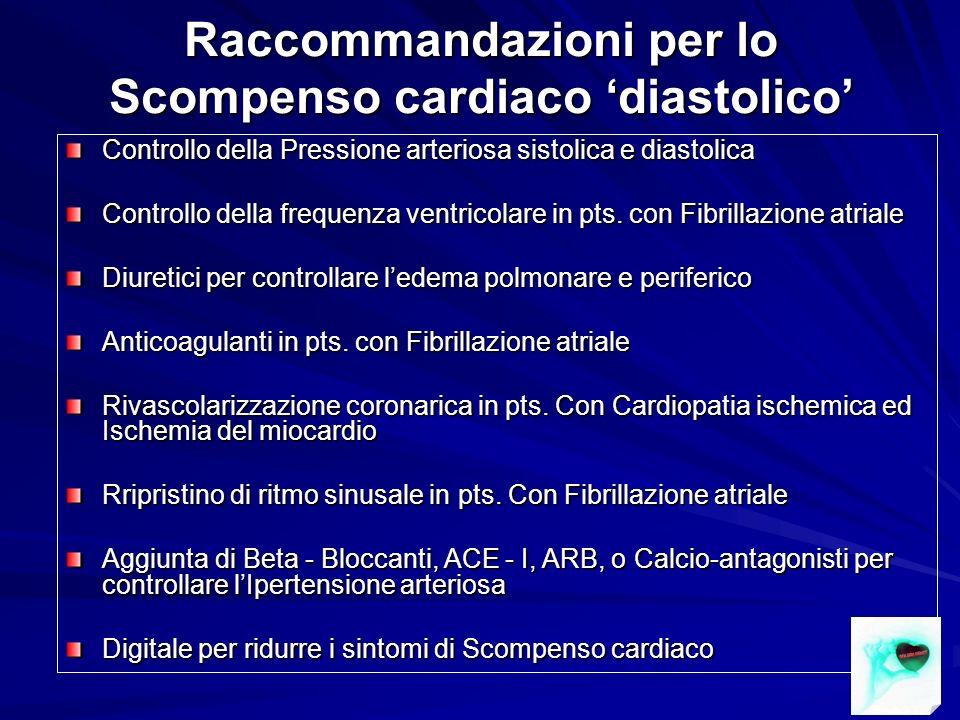 Raccommandazioni per lo Scompenso cardiaco 'diastolico'