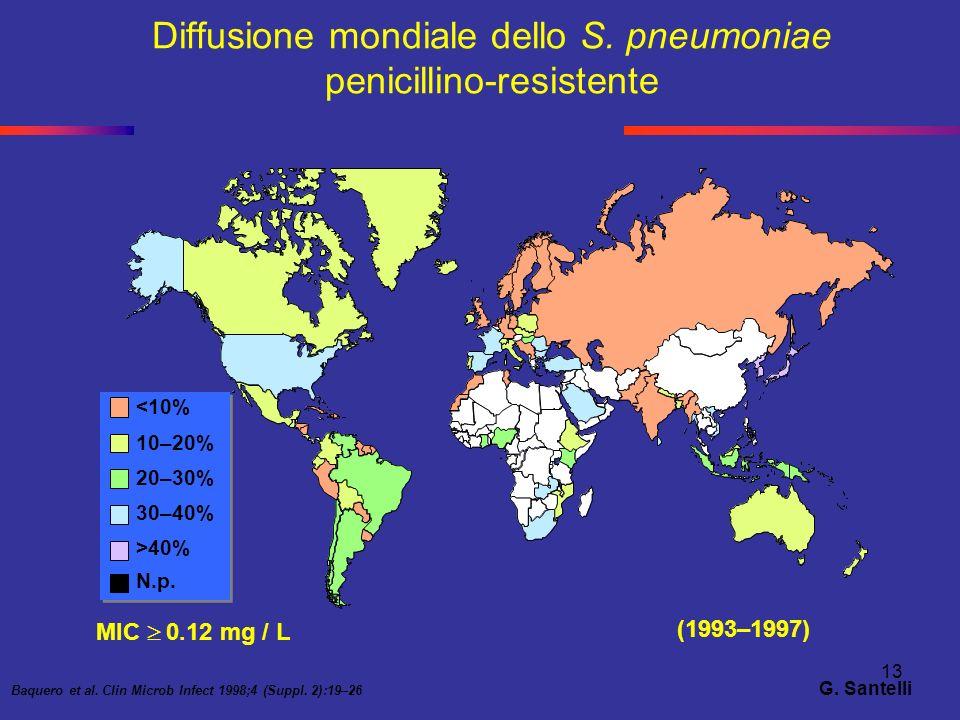 Diffusione mondiale dello S. pneumoniae penicillino-resistente