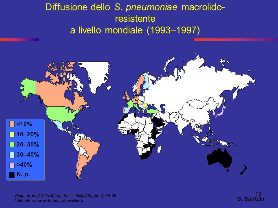 Diffusione dello S. pneumoniae macrolido-resistente a livello mondiale (1993–1997)